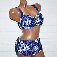 Большой 60 размер синий купальник с белыми цветами, раздельный, женский