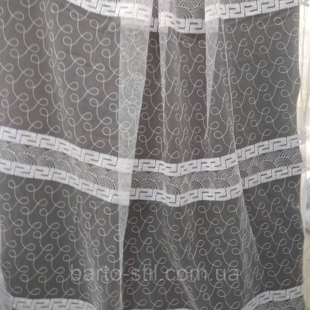 Тюль с  вышивкой на фатиновой основе. Оптом и на метраж .Высота 2.8 м. Версачи