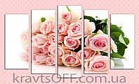 """Модульная картина на холсте из 5-ти частей """"Розовые розы"""" ( 71х128 см )"""