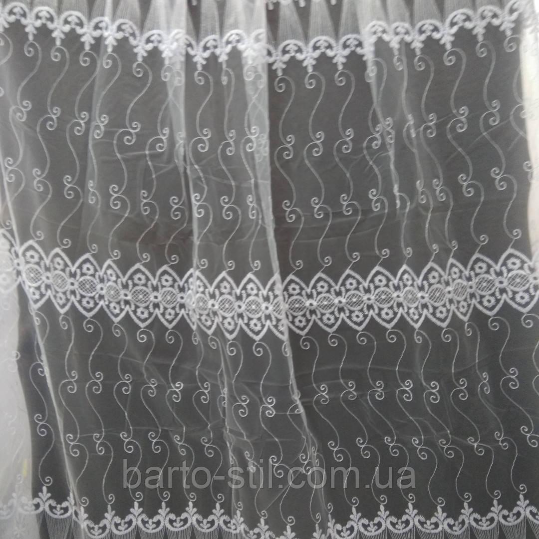 Тюль белого цвета машинная  вышивка с люрексной ниткой Оптом и на метраж Высота 2.8 м
