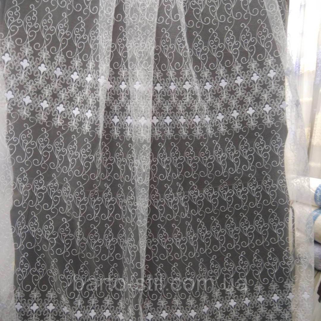 Тюль белого цвета с вышивкой Высота 2.8 м На метраж и опт