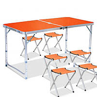 Стол складной для пикника + 6 стульев, оранжевый, отверстие для зонта