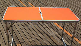 Стол складной для пикника без стульев оранжевый с отверстием для зонта