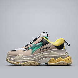 Кроссовки Balenciaga Triple S Beige Green Yellow Бежевые