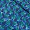Ткань с голубыми и зелеными листьями на синем фоне, ширина 150 см