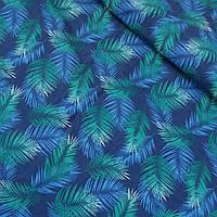 Ткань с голубыми и зелеными листьями на синем фоне, ширина 150 см, фото 1