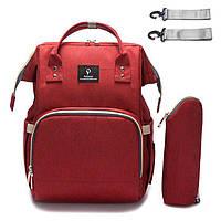 Сумка рюкзак органайзер переноска для мамы для детских бутылочек и питания Pofunuo Red Original с креплением на коляску (005)