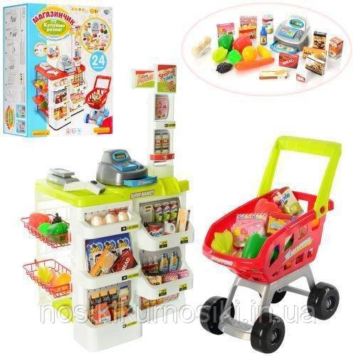 Детский игровой набор Супермаркет (магазин) - касса, сканер, тележка, продукты