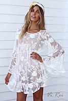 Гипюровое платье- туника с нежной вышивкой, фото 1