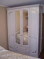 Шкаф 4-хстворчатый с резным декором (с двумя ящиками) из натурального дерева