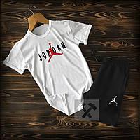 Мужской летний спортивный костюм, чоловічий спортивний костюм Jordan, Реплика (белый + черный)