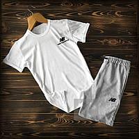 Мужской летний спортивный костюм, чоловічий спортивний костюм New Balance, Реплика (белый + серый)