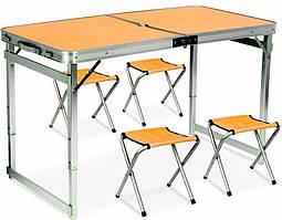Стол Усиленный оранжевый для пикника + 4 стула, с отверстием для зонта и квадратными ножками