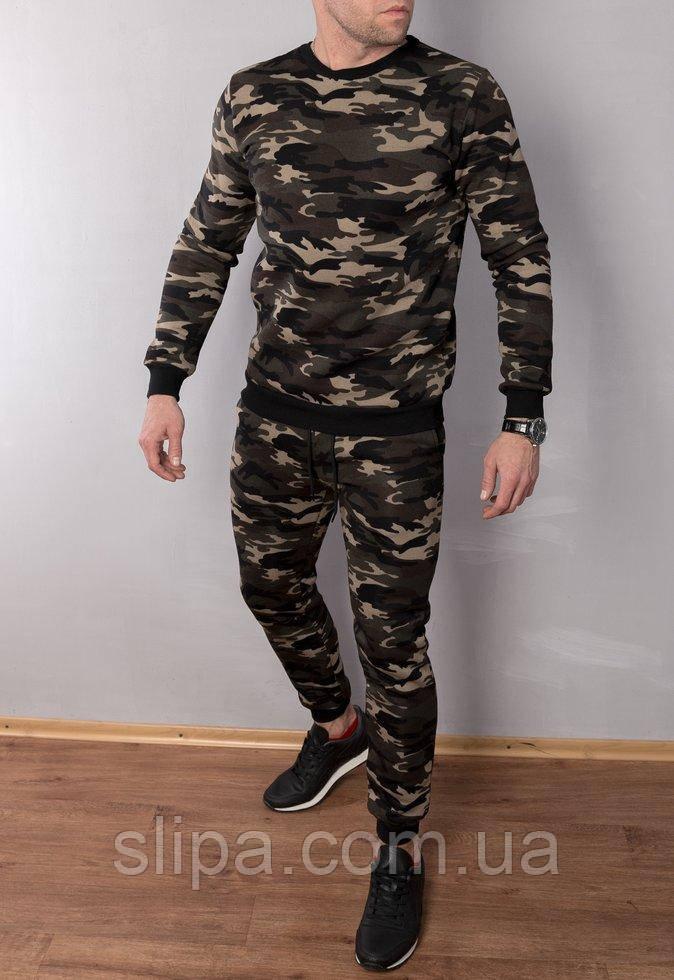 Мужской теплый спортивный костюм камуфляжный , кофта батник