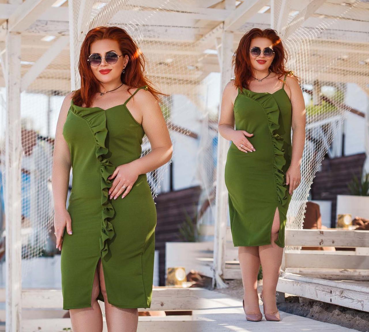 """Элегантное нарядное женское платье в больших размерах 220 """"Креп Разрез Волан"""" в расцветках"""