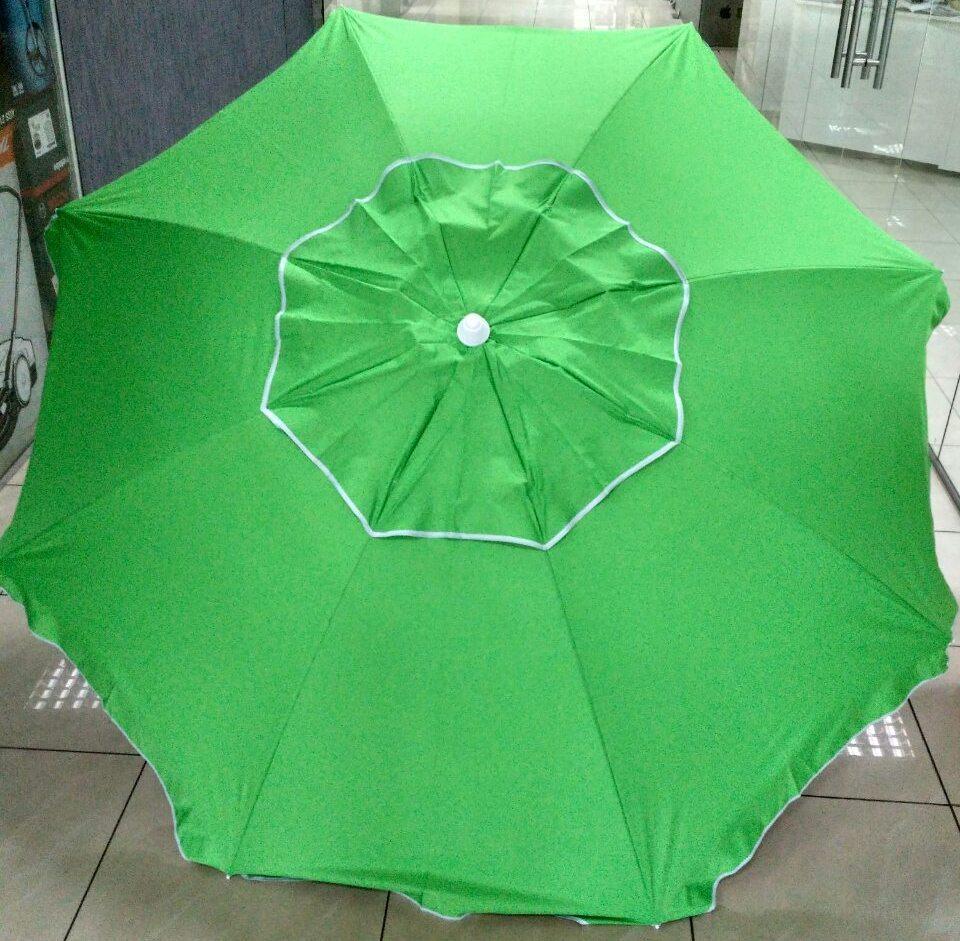 Зонт пляжный, садовый, брезентовый наклонный с клапаном 210 см салатовый