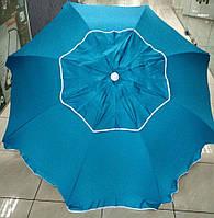 Зонт пляжный, садовый, брезентовый наклонный с клапаном 210 см бирюзовый