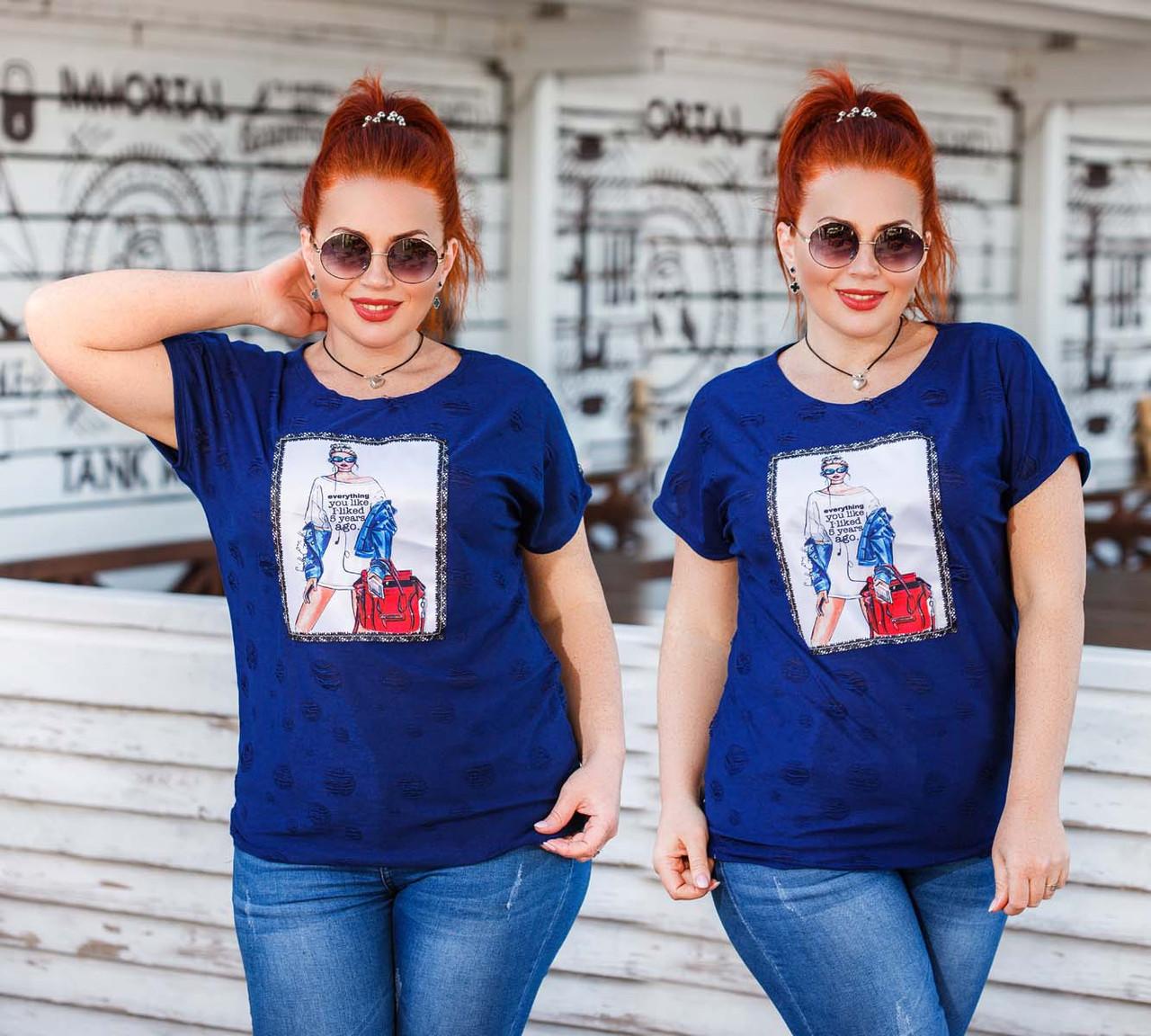 """Женская стильная футболка в больших размерах 15202 """"Нашивка FASHION"""" в расцветках"""
