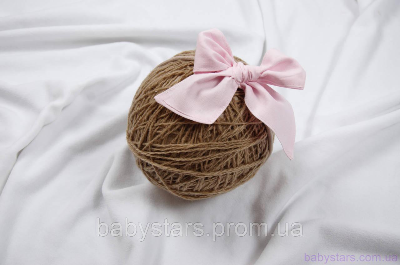 """Детские повязки на голову для девочек """"Бантик"""" на резиночке one size, розовые"""