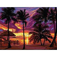 Картина по номерам Закат в тропиках 30Х40см VK044