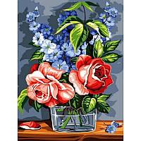 "Картина по номерам, картина-раскраска  ""Розы""  30Х40см VK075"