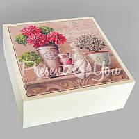 Шкатулка для бижутерии 'Пионы' , 16,5х16,5х6,5 см .
