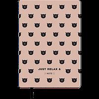 Блокнот деловой RELAX А5, 96 листов, клетка, обложка из искусственной кожи, розовое золото Buromax (Im)