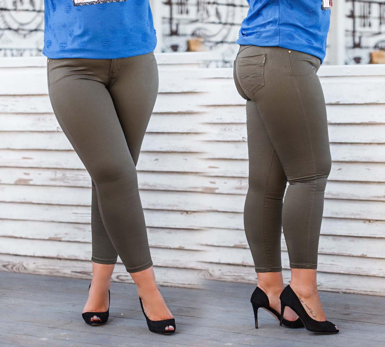 """Женские летние стильные брюки стрейч в больших размерах 9373 """"Джинс Чинос Классика"""""""