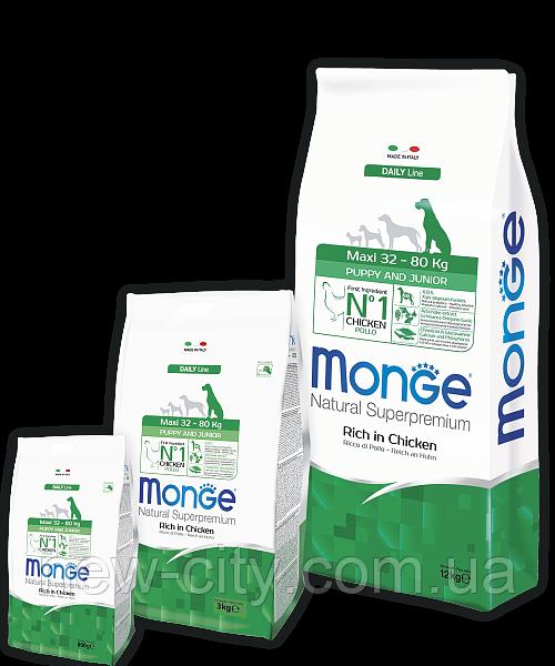 Monge MAXI PUPPY JUNIOR CHICKEN & RICE сухой корм для щенков крупных пород КУРИЦА и РИС 15 кг