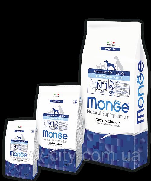 Monge MEDIUM PUPPY JUNIOR CHICKEN & RICE сухой корм для щенков средних пород КУРИЦА и РИС 15 кг