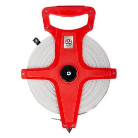 Рулетка геодезическая с полотном из стекловолокна 100м*13мм INTERTOOL MT-0760