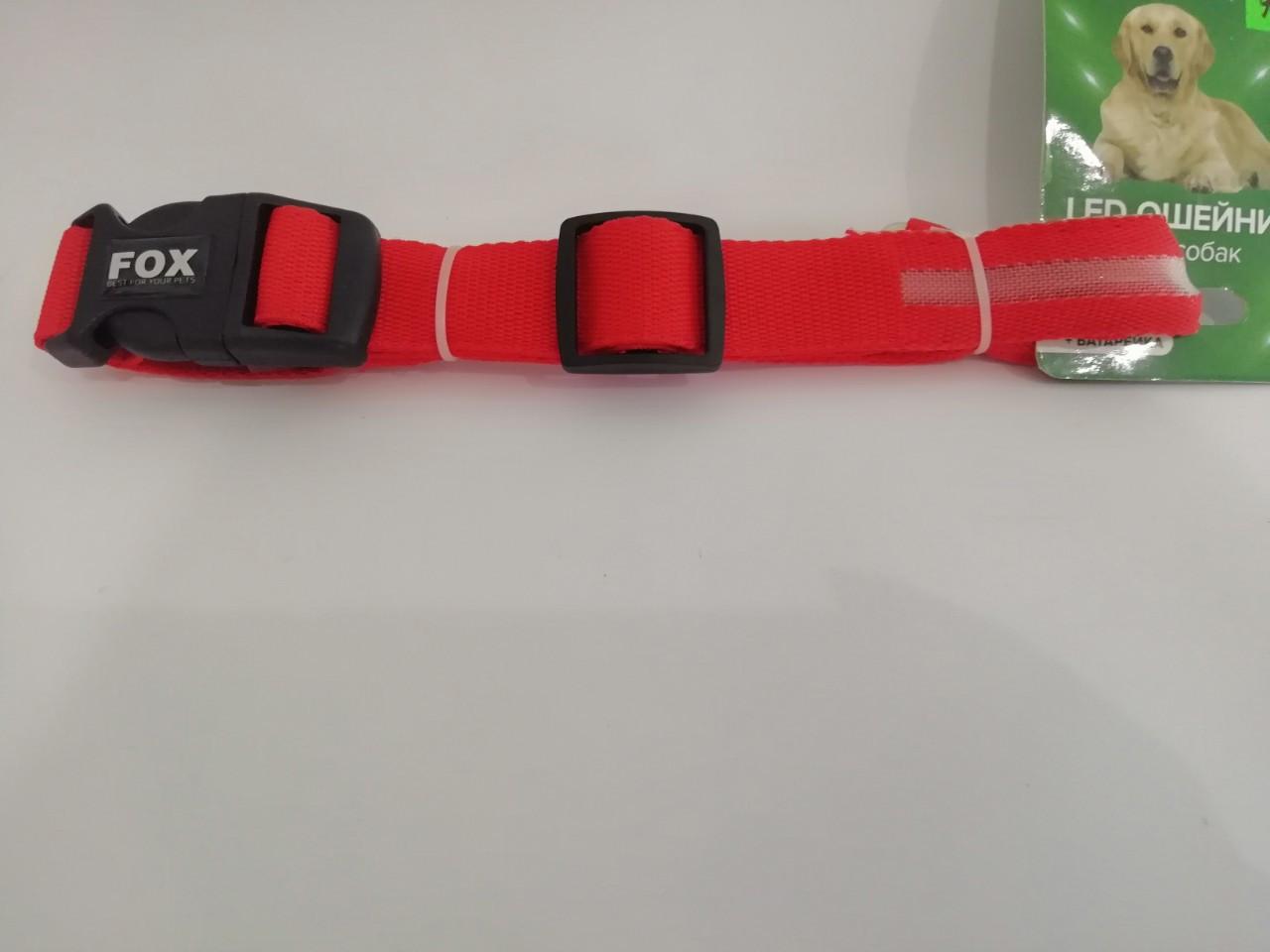 Нашийник Fox LED RED M Фокс Світлодіодний Червоний M (32-50 см) ширина 2,5 см