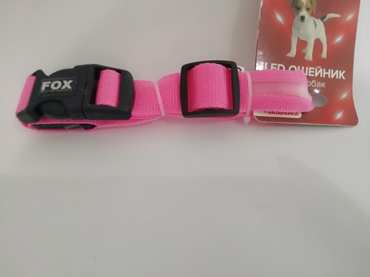 Нашийник Fox LED PINK L Фокс Світлодіодний Рожевий L (48-60 см) ширина 2,5 см