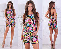 Стильный летний женский легкий комбинезон с шортами и цветочным принтом. Арт-2617/23, фото 1