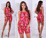 Стильный летний женский легкий комбинезон с шортами и цветочным принтом. Арт-2617/23 Красный
