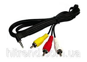 Аудио-видео кабель Mini Jack ST 3.5 на 3RCA 1.2м - 150838
