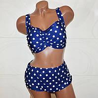 Раздельный женский купальник. Темно-синий в горошек. 54 размер 4XL
