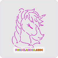 Трафарет + формочка-вырубка для пряника Единорог №5
