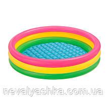 Надувной детский бассейн 1.14м-26см, 4кольца, надувное дно, надувний басейн Интекс Intex 57412, 003199