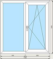 Окно 1300 х 1400, 3 камерный профиль, двухкамерный стеклопакет.