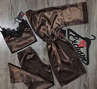 Женский комплект тройка для дома, штаны майка и халат