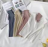 Майка з мереживом жіноча біла, чорна, бежева, пудра, джинс, фото 2