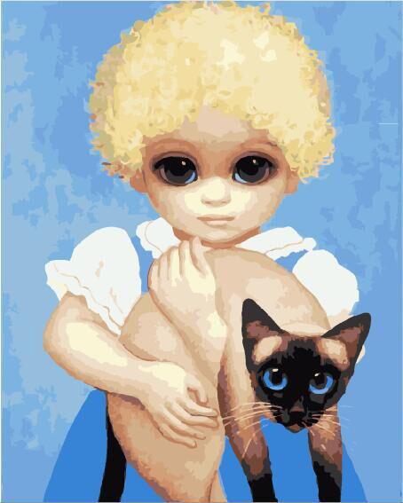 Картина по номерам на холсте Ребенок с кошкой. Маргарет Кин, GX29290
