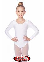 Гимнастический купальник, белый GM030102 (бифлекс, р-р 1-XL, рост 98-155см)