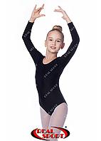 Купальник для гимнастики, черный GM030101 (бифлекс, р-р 1-XL, рост 98-155см)