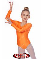 Купальник для художественной гимнастики, оранжевый RS GM030110 (бифлекс, р-р 1-XL, рост 98-155см)