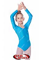 Купальник для художественной гимнастики, бирюзовый RS GM030105 (бифлекс, р-р 1-XL, рост 98-155см), фото 1