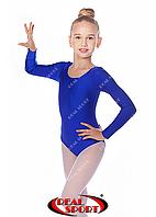 Купальник для художественной гимнастики, синий RS GM030106 (бифлекс, р-р 1-XL, рост 98-155см), фото 1