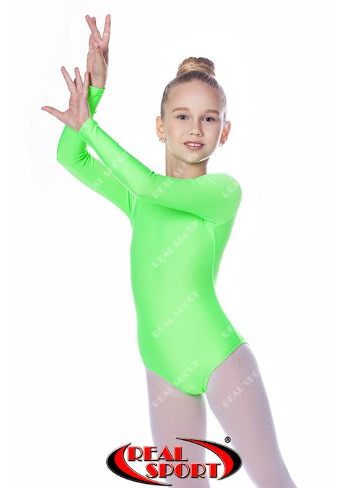 Купальник для художественной гимнастики, салатовый RS GM030107 (бифлекс, р-р 1-XL, рост 98-155см)