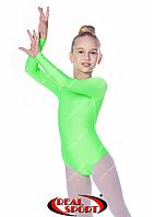 Купальник для художественной гимнастики, салатовый RS GM030107 (бифлекс, р-р 1-XL, рост 98-155см), фото 1